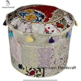 Indian Vintage Ottoman Pouf Cover ,Patchwork Ottoman, Living Room Patchwork Foot Stool Cover,Decorative Handmade Home Chair Cover Indian Bean Bag