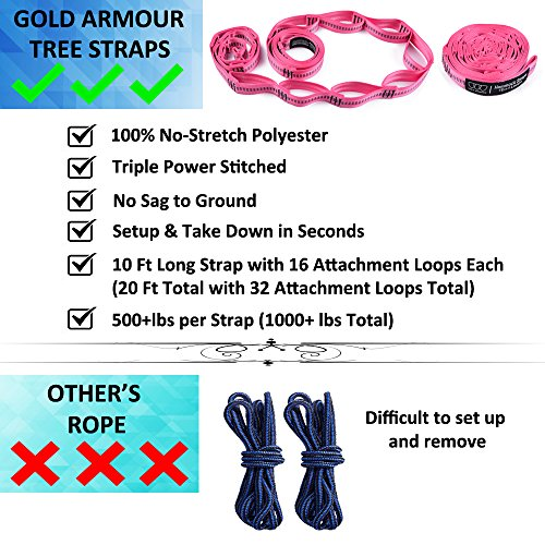 XL Double Parachute Camping Hammock - Tree Portable with Max 1000 lbs Breaking Capacity - FREE 16 Loops Tree Strap & Carabiners For Backpacking, Camping, Hiking, Travel, Yard (Fuchsia / Pink)