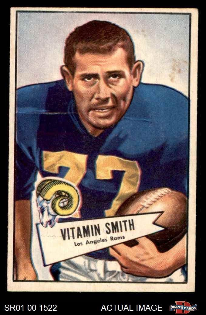 1952 Bowman Small # 73 Vitamin Smith Los Angeles Rams (Football Card) Dean'S Cards 5 - Ex Rams
