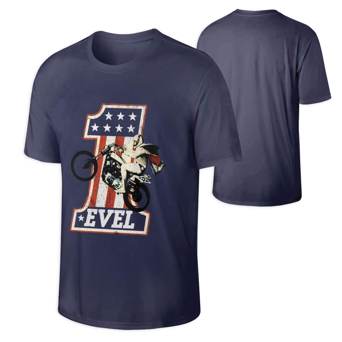 Mans American Classics Evel Knievel Navy Funny Tops Shirts