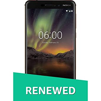 (Renewed) Nokia 6.1 Black / Copper Smartphones at amazon