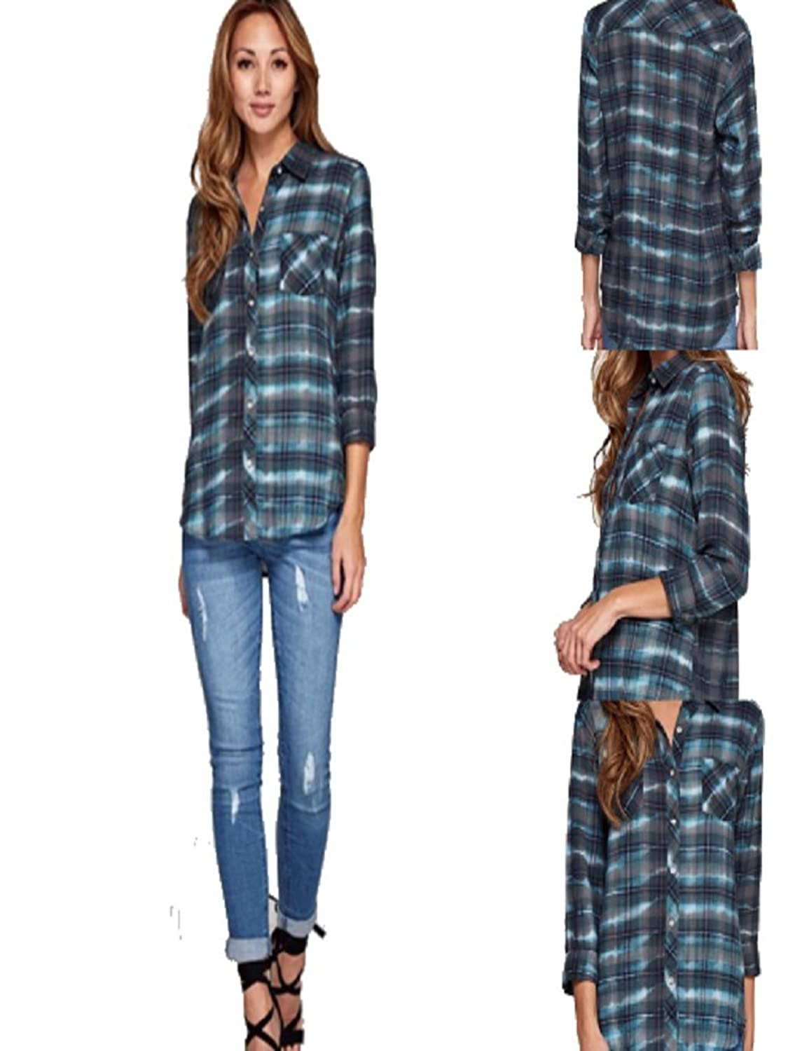 Love Stitch Charcoal and Turq Tie Dyed Plaid Shirt