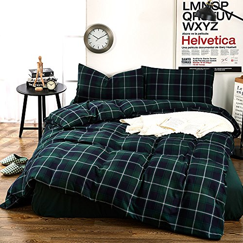 Plaid Flannel Duvet Cover Set Queen King Size Bedding Collection Luxury 3 Piece Green Grid Printed Pattern Duvet Cover Set Queen Cotton- Lightweight Soft Velvet Boys Girls Comforter Duvet Cover, Queen (Flannel Comforter Cover)