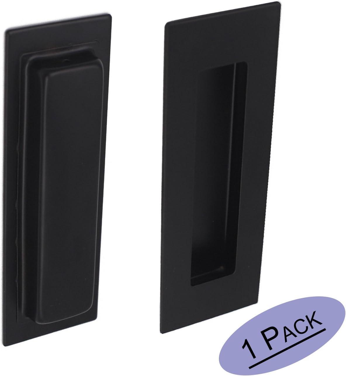 Manijas de puerta corredera negra rectangular empotrable – Goldenwarm MC018BK tornillos ocultos de 15 cm de longitud, 5 cm de ancho de acero inoxidable: Amazon.es: Bricolaje y herramientas
