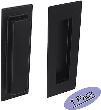 Manijas de puerta corredera negra rectangular empotrable ...