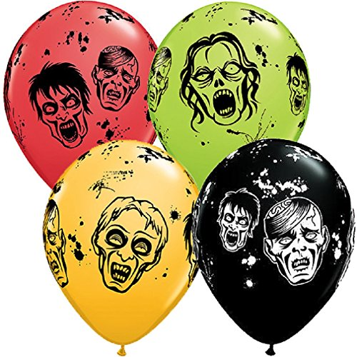 "Variety Fall Harvest - Custom, Fun & Cool {Medium Size 11"" Inch} 10 Pack of Helium & Air Inflatable Latex Balloons w/ Undead Zombie Apocalypse Halloween Scary Design [Variety Assorted Multicolor In Green, Red & Yellow]"