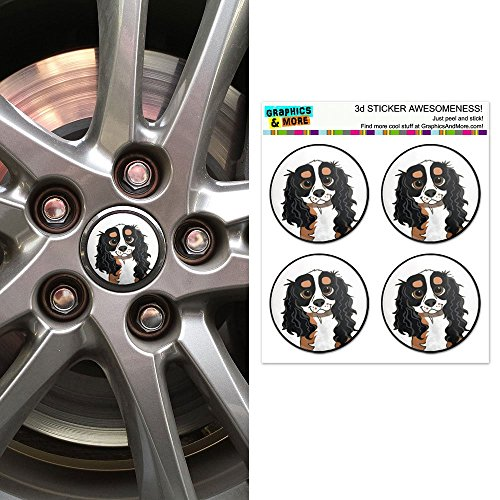 Graphics and More Cavalier King Charles Tri Color Wheel Center Cap 3D Domed Stickers Badges - Set of 4