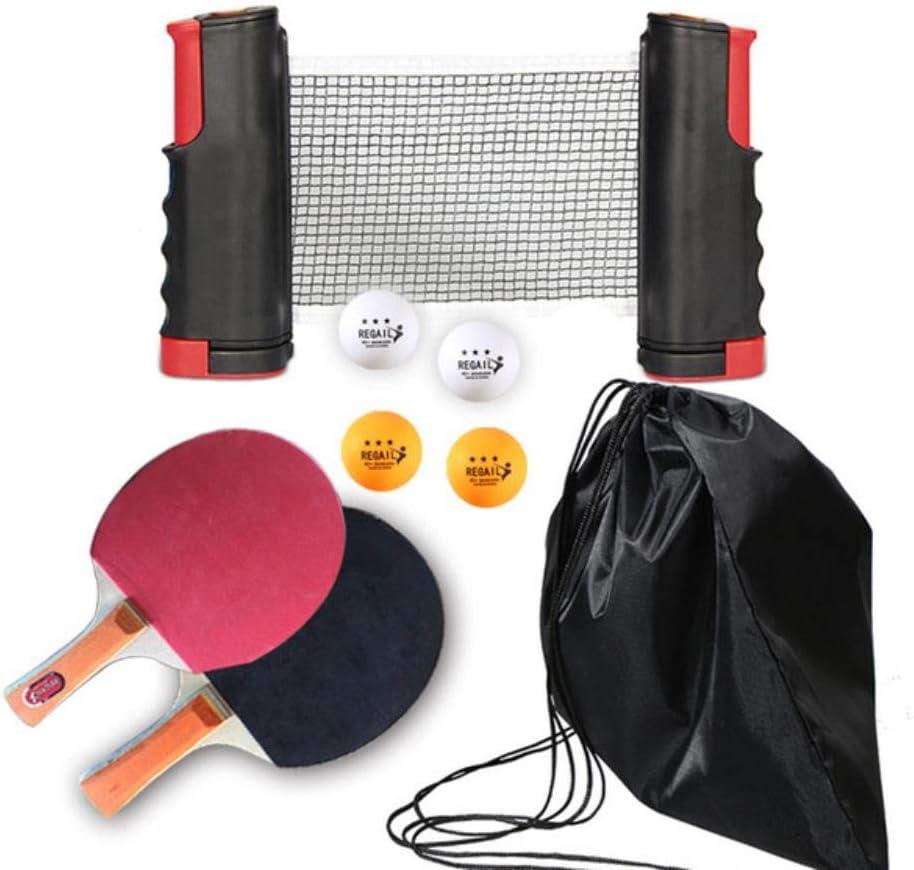 AOOA Raqueta de Tenis de Mesa portátil de Ping Pong 1.9M Red telescópica 4 Pelotas 1 par Juego de Entrenamiento Pingpong de Paleta de Goma para Tenis de Mesa, Conjunto Rojo Negro