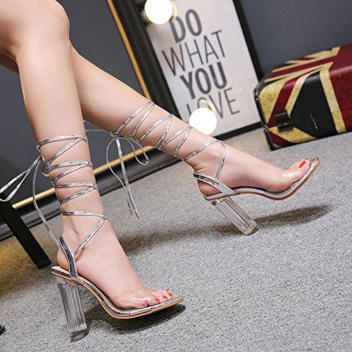 ZHZNVX Die neue Cross strap mit kristallklarem hochhackigen Sandalen ist Frauen sexy Nacht Fischen gerade Frauen ist Schuhe 17dffa
