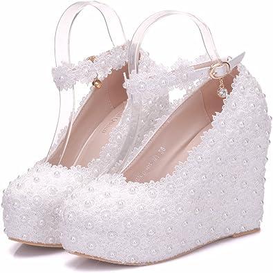 Amazon Com White Lace Wedding Shoes Wedges Heels Platform Wedges