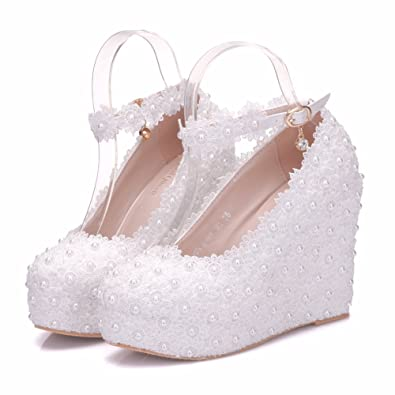 b2e6eac1259 White Lace Wedding Wedges Shoes Handmake Pearls Platform Shoes Platform  Round Toe Wedges Pumps (33