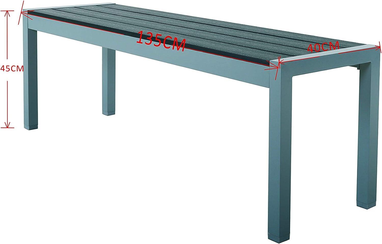 Chicreat - Banco de aluminio para jardín, 135 x 40 x 45 cm (gris ...
