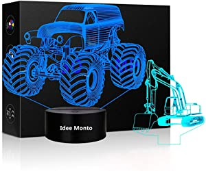 3D LED Tractor Nightlight Excavator Sleeps Touch Lamp Night Light Dimmable 7 Colors Excavator Light Kids Monster Truck Decor for Christmas Kids' Room Living Room Bedroom Gift