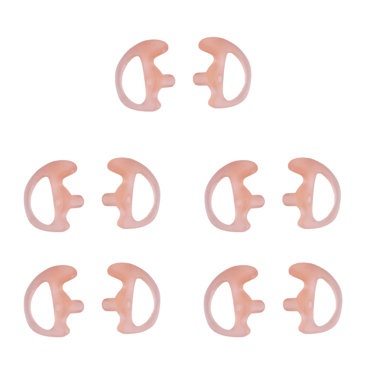 KS K-STORM Two Way Radio Ear Mold Replacement Soft Silicone Ear Insert Earmould for Acoustic Coil Tube Earbud (Carnation, 5 Pair Small)