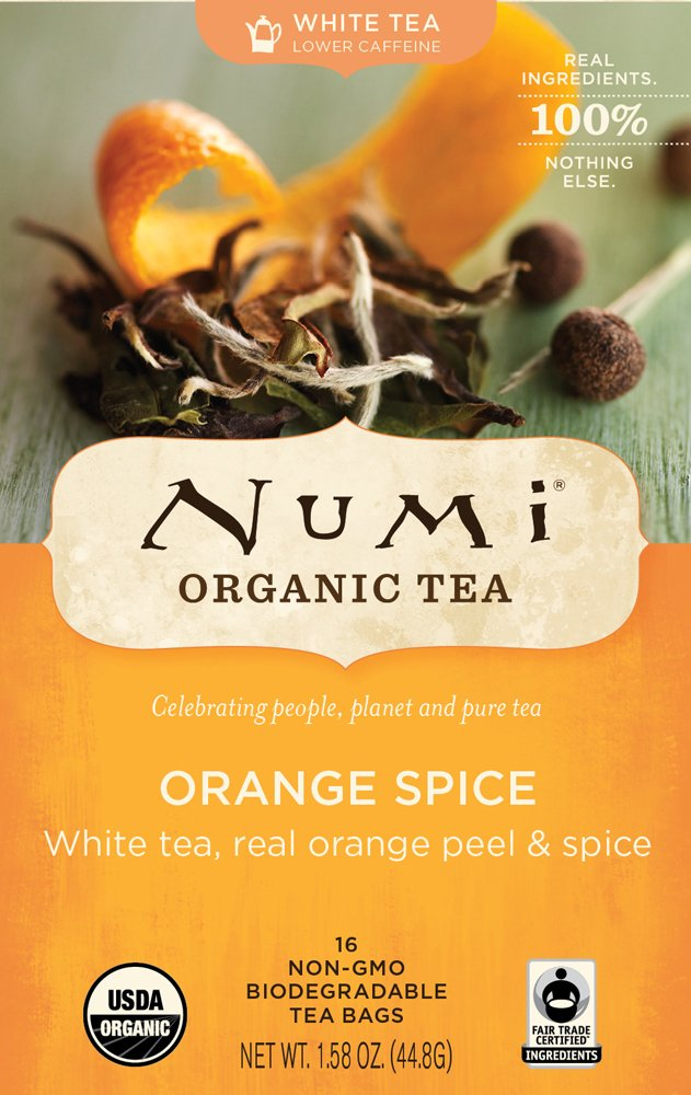 Numi Organic Tea White Orange Spice, Full Leaf White Tea, 16-Count Tea Bags, 1.58 Oz  (Pack of 2)