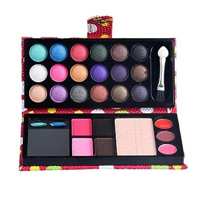 Rawdah 26Colors maquillaje paleta cosmético sombra de ojos se ruborizan labial polvo de brillo rojo