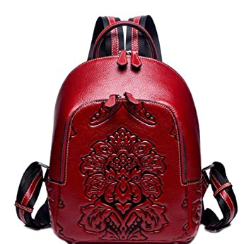 FGSJEJ Womens Backpack Color : Red, Size : One Size Leather Large Capacity Leisure Travel Backpack Ladies Dual-use Backpack
