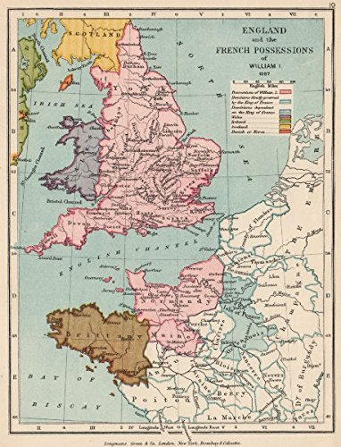 NORMANS: William the Conqueror\'s lands in France & England 1087;1907 ...