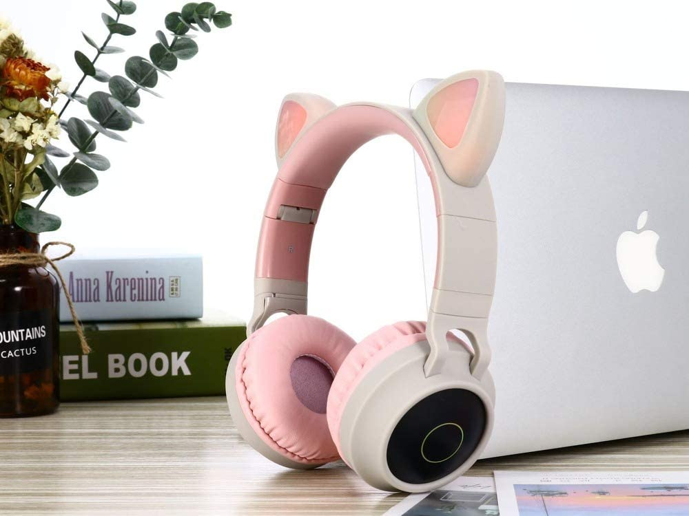 Auriculares Bluetooth Orejas Gato Inalambricos De Diadema Cascos Plegables Micrófono Incorporado Micro SD/TF, Auriculares Estéreo Inalámbricos Plegables para Movil, PC, Tablet (Blanco)