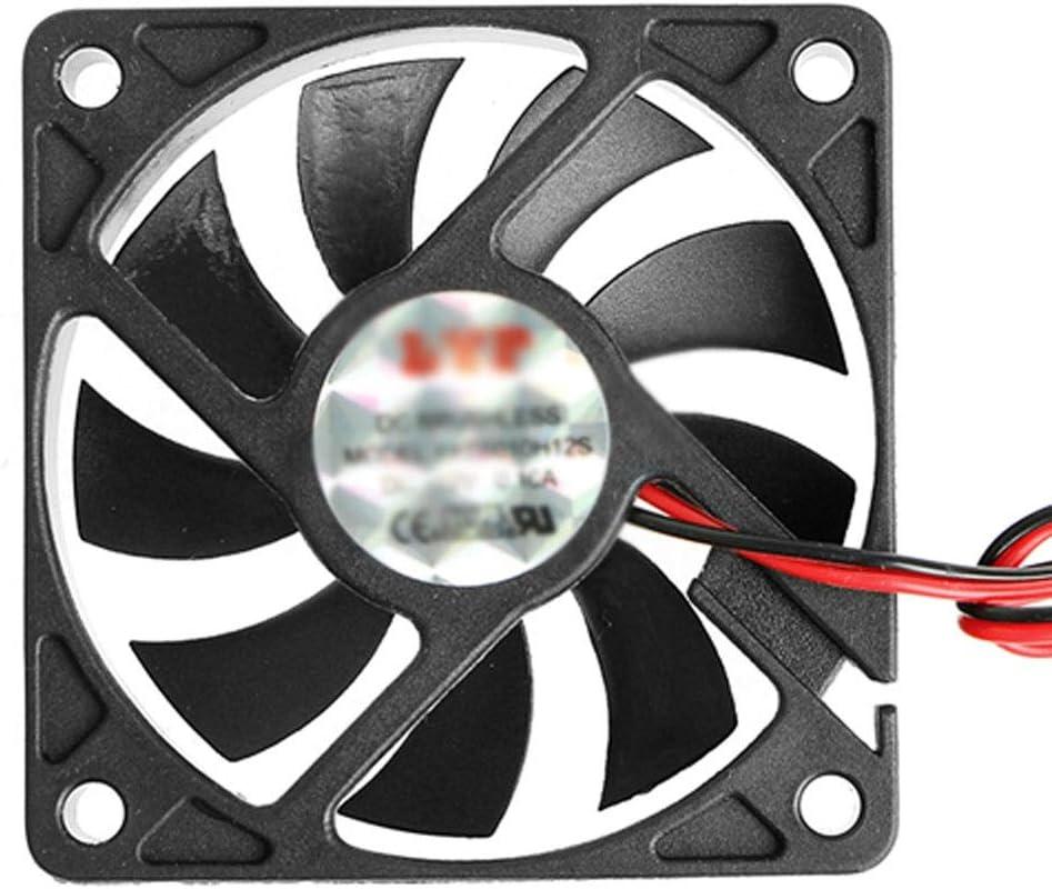 XJJZS Nuevo DC 12V 2-Pin 60x60x10mm PC Computadora CPU Sistema Ventilador de enfriamiento con cojinete de Manguito 6010