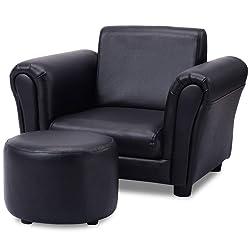GHP 110-Lbs Capacity Black Wood Frame Sponge PVC Kids Couch Armrest Chair w Ottoman
