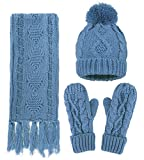 ANDORRA - 3 in 1 - Soft Warm Thick Cable Hat Scarf & Gloves Winter Set, Cyan