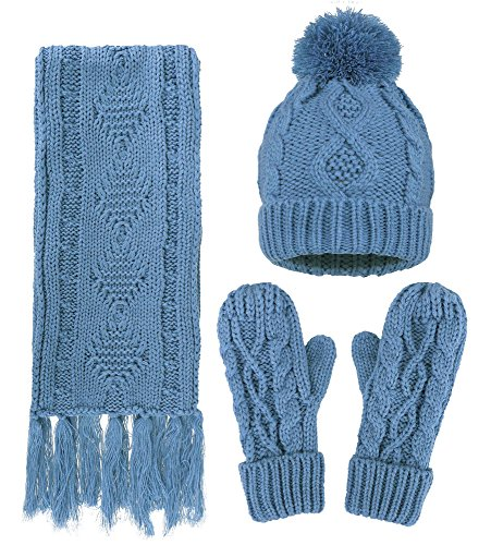 ANDORRA - 3 in 1 - Soft Warm Thick Cable Hat Scarf & Gloves Winter Set, Cyan (Ski Hats Gloves)