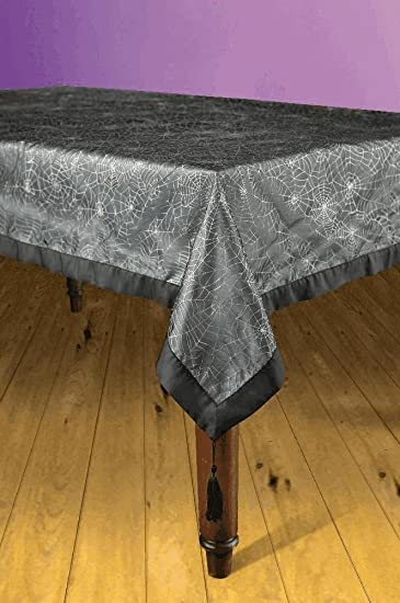 Black Spider Web Tablecloth With Silver Webbing