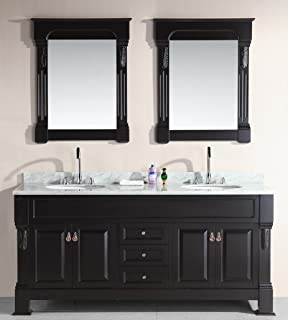 Design Element Marcos Double Sink Vanity Set With Carrara White Marble  Countertop, 72 Inch
