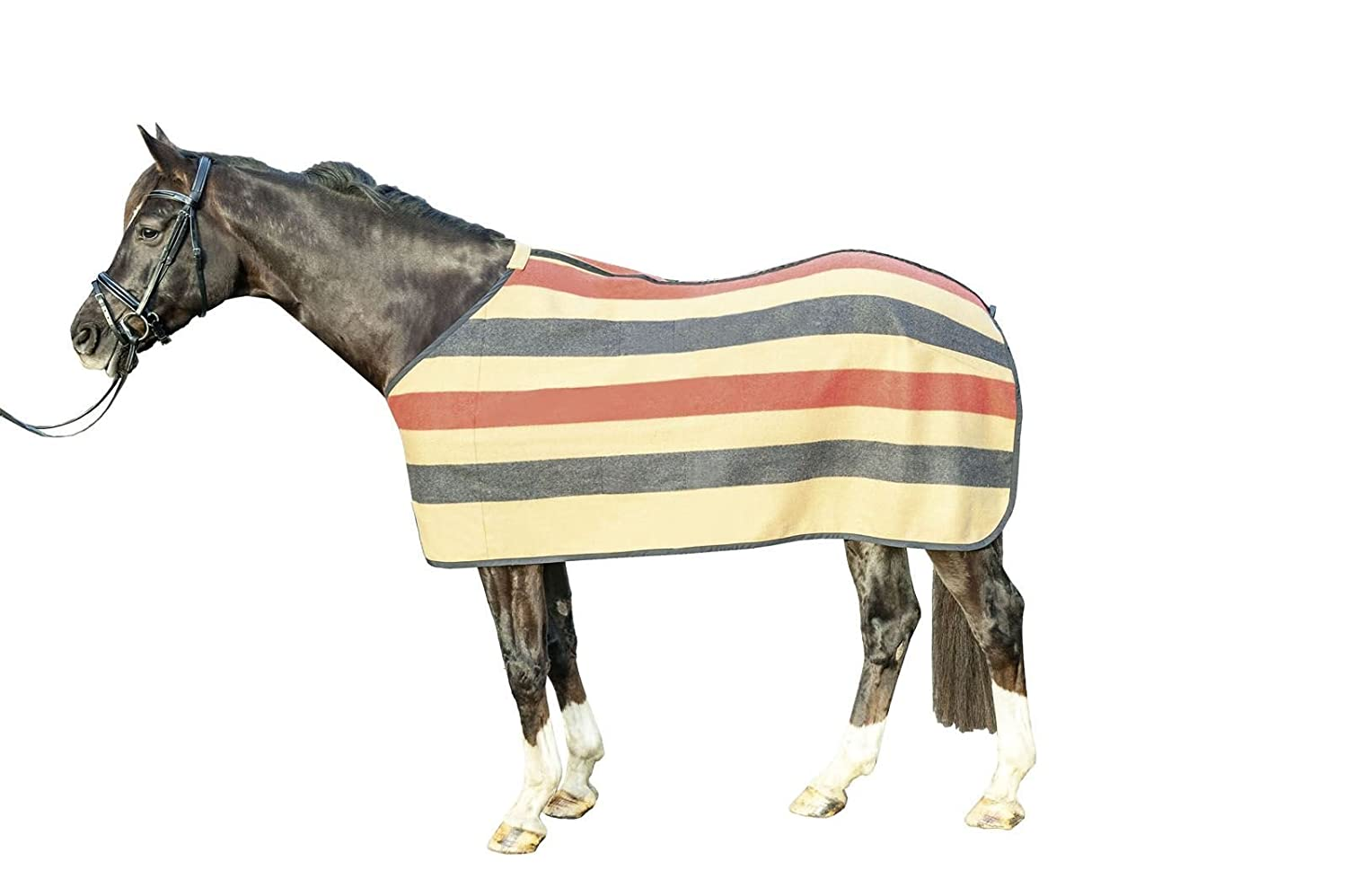 HKM Fleece Rug Wool Stripes Sweat Absorber Long Sided Horse Predection Blanket