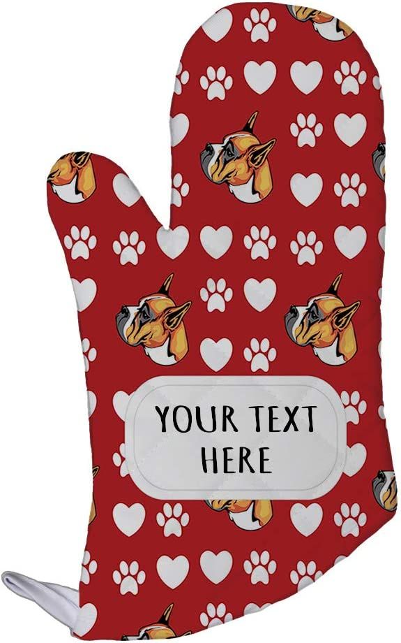 Style In Print Polyester Oven Mitt Custom Boxer Dog Red Paw Heart Pattern Adults Kitchen Mittens