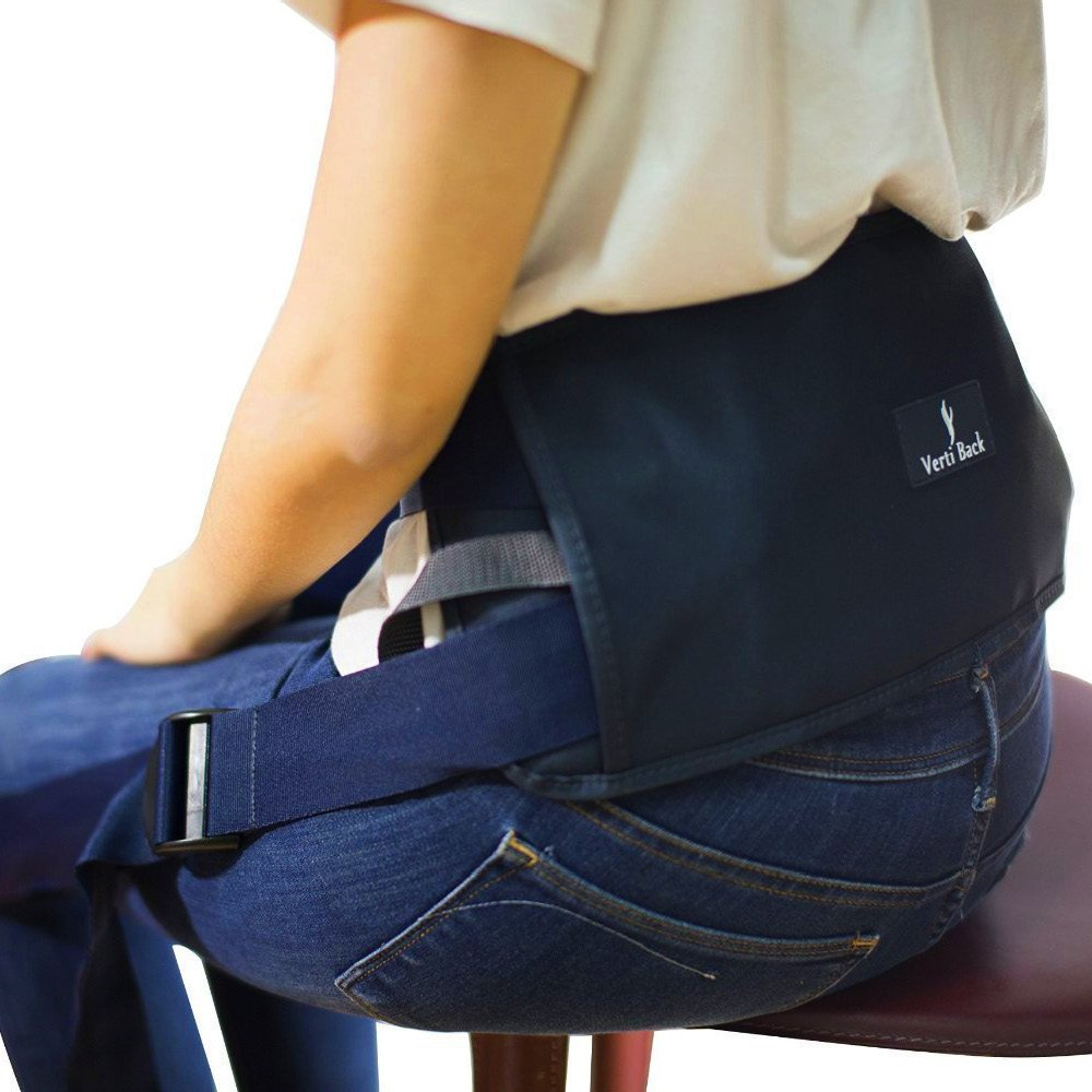 Verti Back - Posture Correcting Lumbar Support with Adjustable Straps, Keeps Back Straight While Seated, Suitable in Office or At Home or Outdoors (Physiotherapist Approved) by Verti