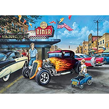 MasterPieces Childhood Dreams Hot Rods and Milkskakes Cars at the Diner Jigsaw Puzzle by Dan Hatala, 1000-Piece