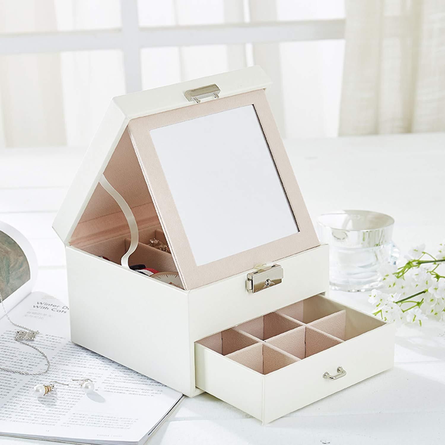 Gift for Her White Mozing Jewelry Box Organizer Storage for Women Girls with Removable Mirrored and Lock