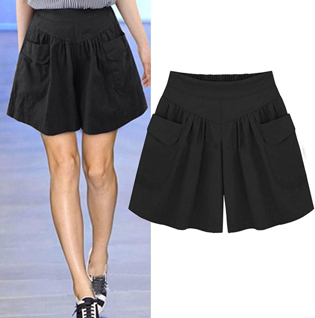 ESAILQ Shorts Women Plus Size Solid Loose Hot Pants Pockets Lady Summer Casual