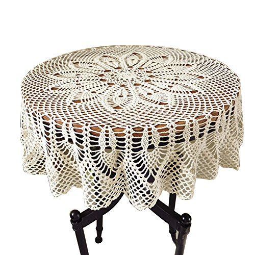 ColorBird Vintage Handmade Crochet Tablecloth Decorative Round Table Cover Layer for Kitchen Dinning Pub Bedside Tabletop Sheet Decoration, 36 x 36 In…