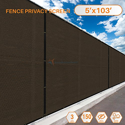 Screens 103' (Sunshades Depot Tang Privacy fence screen 103'x5' Brown Heavy Duty Commercial Windscreen Residential Fence Netting Fence Cover, 150 GSM 88% Privacy Blockage with excellent Airflow 3 Years Warranty)