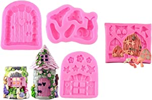 Allinlove 4 Pack Enchanted Vintage Fairy Garden Fairy Gnome Home Door Snail Silicone Chocolate Fondant Molds Crafting Polymer Clay Molds Cake Decorating Tools Sugarcraft Cake Decoration Craft Moulds