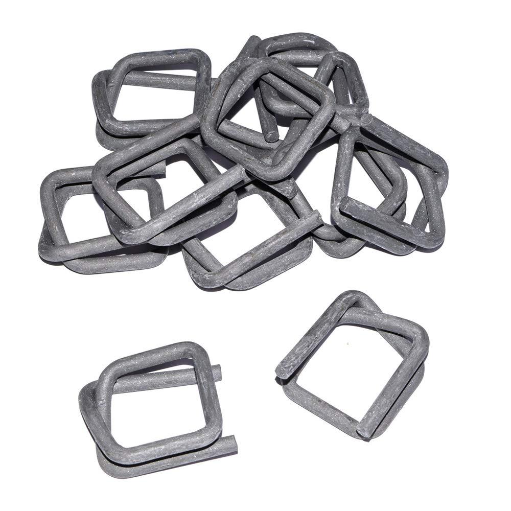 500 Stk.//Karton Linder Metallklemmen f/ür Polyester-Textilband Phosphatiert 5 mm Drahtst/ärke 25 mm Bandbreite