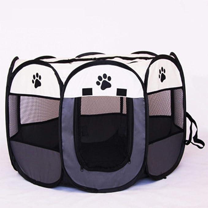 XATAKJJ Mascota Perro corralito Tienda cajón habitación Plegable Cachorro Ejercicio Gato Jaula Impermeable al Aire Libre Dos Puertas Malla Sombra Cubierta Nido Perrera