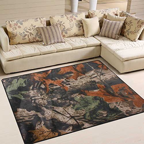 ALAZA Forest Tree Camouflage Realtree Vintage Area Rug Rugs for Living Room Bedroom 7' x 5'