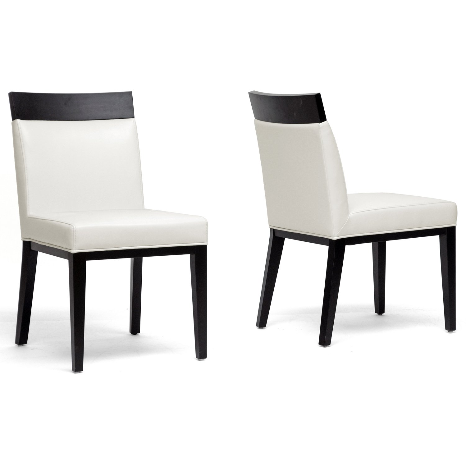 amazoncom baxton studio clymene black wood and cream leather modern dining chair set of 2 chairs