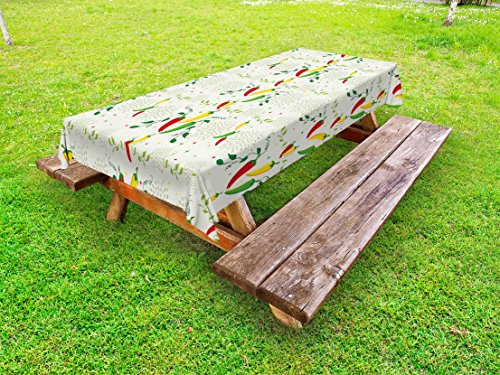 Lunarable Vegetables Outdoor Tablecloth, Gourmand Peppers on Swirl Branches Mexican Food Hot Sauce Image, Decorative Washable Picnic Table Cloth, 58 X 84 inches, Fern Green Red Yellow Cream by Lunarable