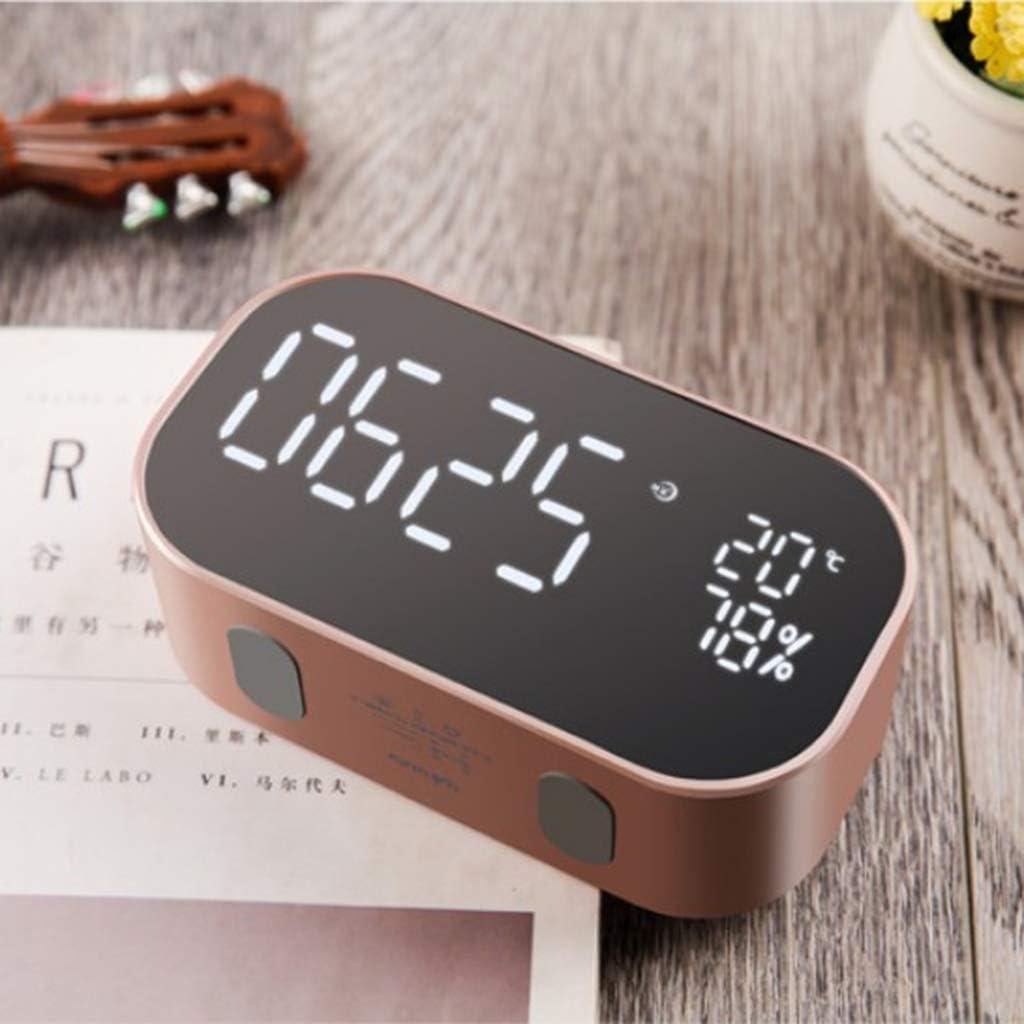 Homyl Reloj Despertador Digital Multifunción Altavoz de Audio Estéreo Inalámbrico Bluetooth - Oro Rosa