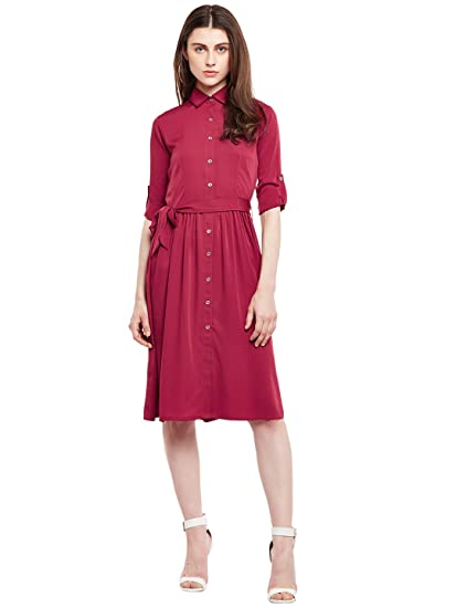 776415bb622 Wisstler Women s Maroon Poly Crepe Shirt Dress  Amazon.in  Clothing    Accessories