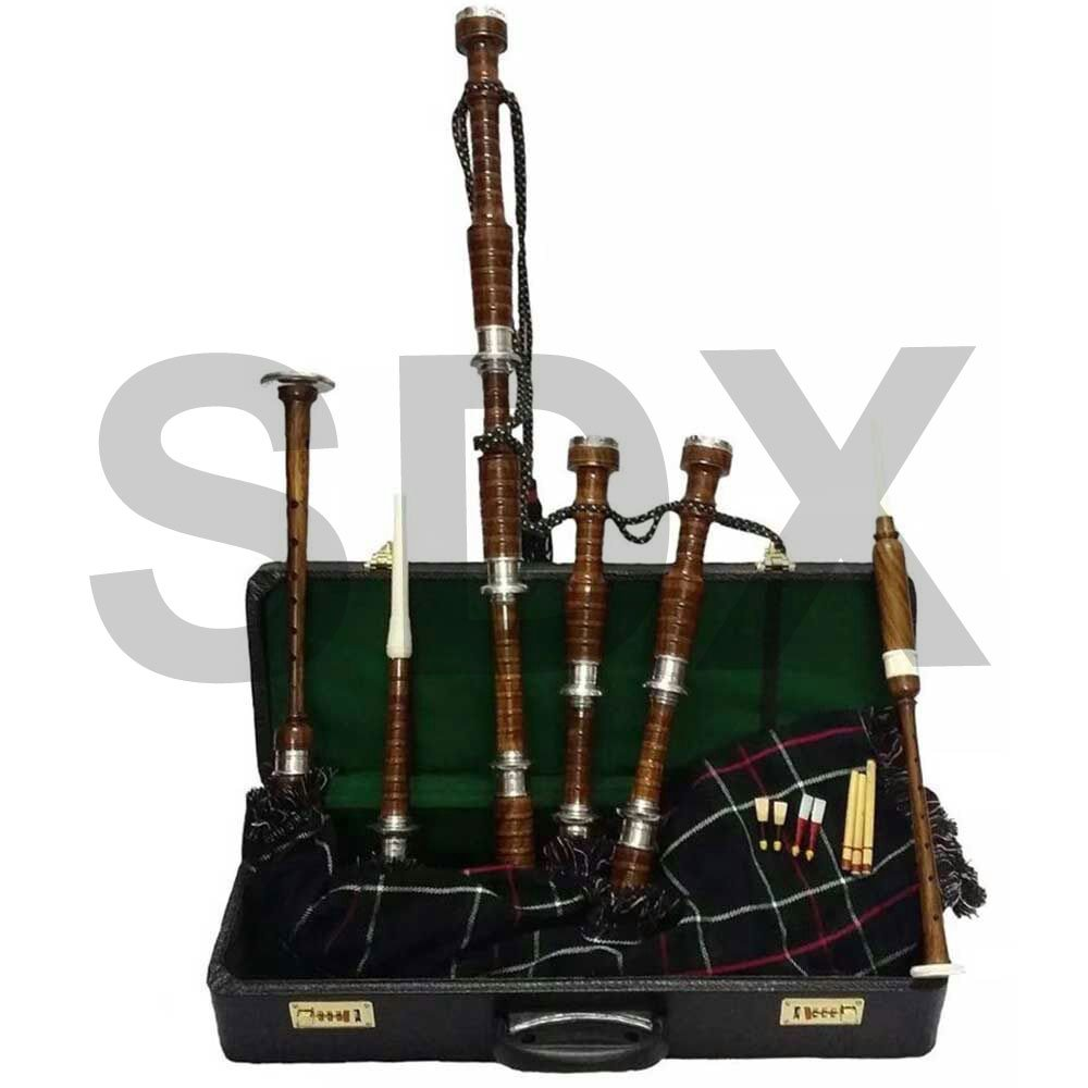SDX New Highland Rosewood Bagpipe Mackenzie Tartan Full Set Silver Mounts with Hard Case Free Tutor Book SDX Sports MAK-BRN2-CA