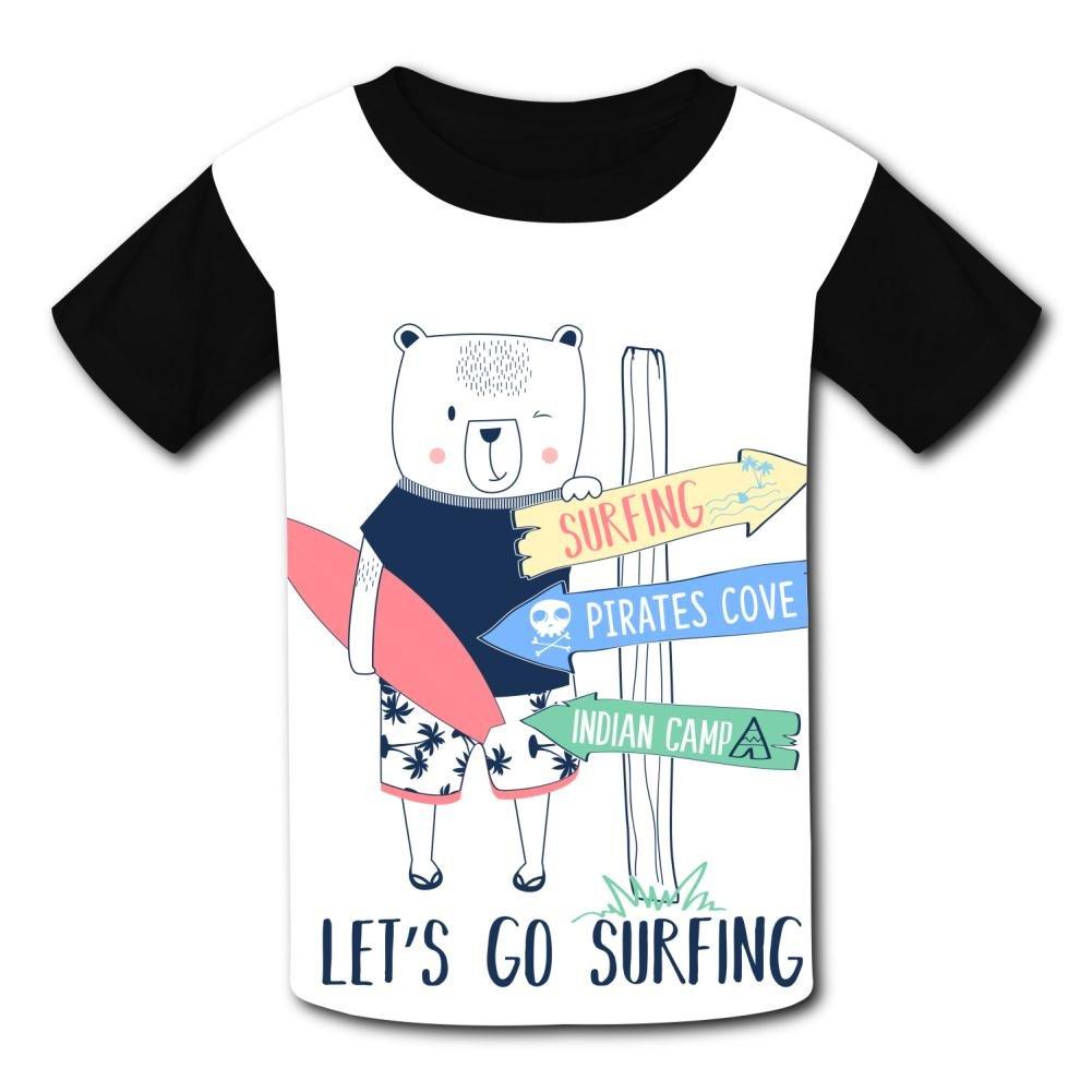 riverccc6.1500 Surfer Bear Let's Go Surfing Youth T-Shirt Boys Girls Tee
