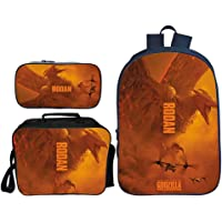 3D Godzilla Monster Pattern Backpacks, Children's Book Bag 3-Piece Set, with Lunch Box and Pencil Case