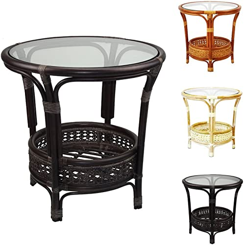Pelangi Coffee Round Table Handmade Natural Rattan Wicker Glass Top
