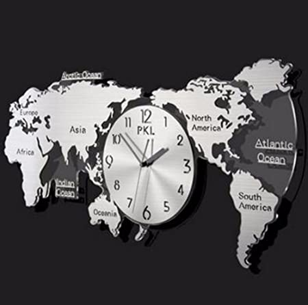 Qpssp the nordic modern minimalist world map clock clock living room qpssp the nordic modern minimalist world map clock clock living room decoration fashion creative personality mute gumiabroncs Image collections